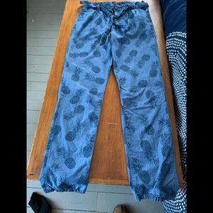 Gap Blue pineapple comfy cotton pants size 14